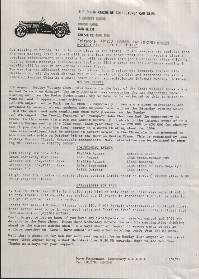Newsletter from August 1995
